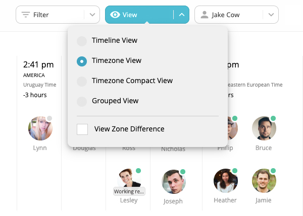Screen shot of Team Time Zone PRO Application. Screen shot of Team Time Zone PRO Application. Focusing on the view feature.